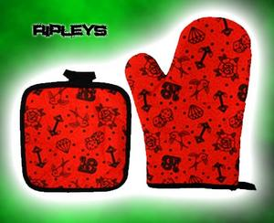 SOURPUSS Oven Glove Mit KITCHEN SET Goth TATTOO RED Swallows