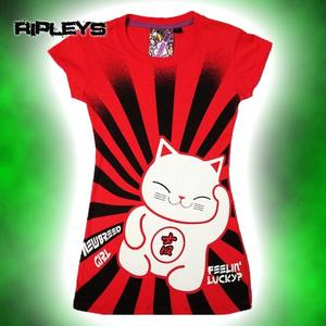 NEW BREED GIRL Emo Skinny T Shirt LUCKY KITTY Red  Preview