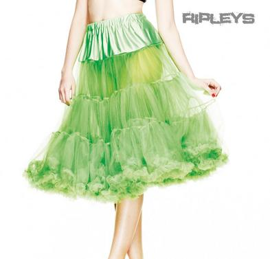 """HELL BUNNY 50s SKIRT GREEN PETTICOAT AO Long 25"""" XS-M  8-12 Preview"""