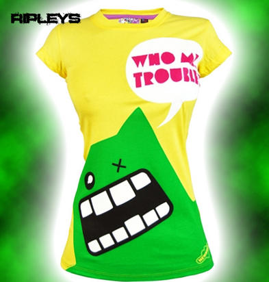 NEW BREED GIRL Emo Skinny T Shirt TROUBLE MONSTER Yellow L 12