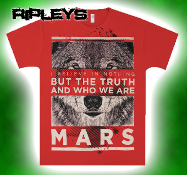 Official T Shirt 30 SECONDS TO MARS Red Wolf All Sizes