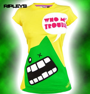 NEW BREED GIRL Emo Skinny T Shirt TROUBLE MONSTER Yellow
