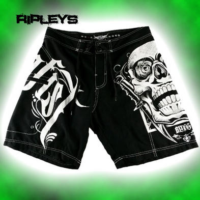 "IRON FIST Board Shorts MILITIA Logo SKULL Black 30"" Waist S"