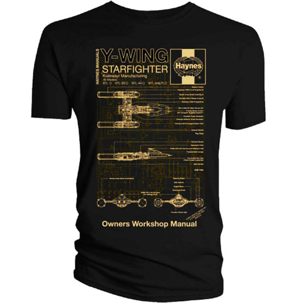 Official T Shirt Star Wars Black Y Wing Gold Haynes S