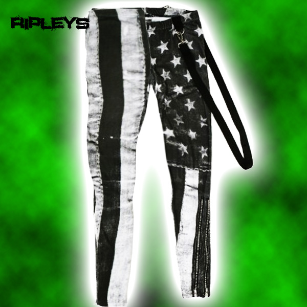 ABBEY DAWN Skinny WHITE FLAG LEGGINGS Avril Lavigne PUNK M 10 Enlarged Preview