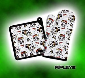 SOURPUSS Oven Glove Mit KITCHEN SET Goth SKULLS IN LOVE White