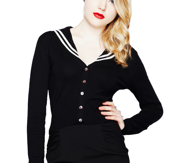 HELL BUNNY Skinny LANDLUBBER Cardigan Top Black Sailor Rockabilly All Sizes