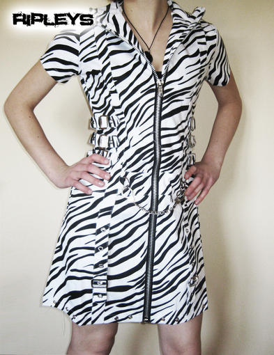 LIVING DEAD SOULS Mini DRESS Zebra Buckles Bondage WHITE All Sizes
