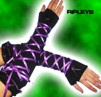 LIVING DEAD Clothing Long GLOVES Black LACE/Ribbons Goth Burlesque PURPLE