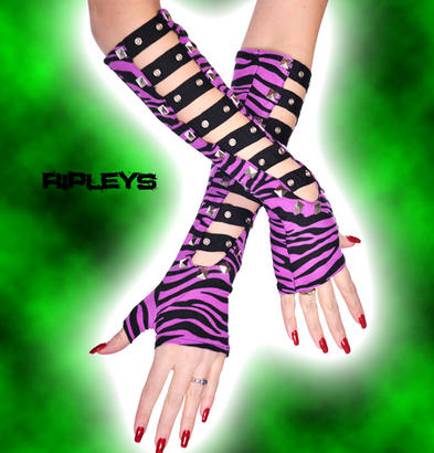 LIVING DEAD Clothing Long GLOVES Black ZEBRA Studs Punk/Goth Bondage PURPLE