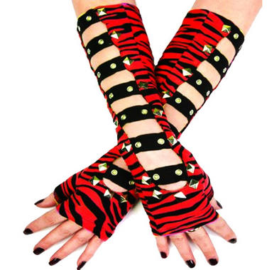 LIVING DEAD Clothing Long GLOVES Black ZEBRA Studs Punk/Goth Bondage RED