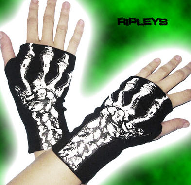 LIVING DEAD Clothing Short GLOVES Black SKELETON Hands BONES Goth Punk