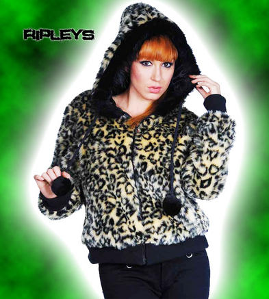 LIVING DEAD Clothing Hoody/Jacket/Coat LEOPARD FUR Thick Rockabilly All Sizes