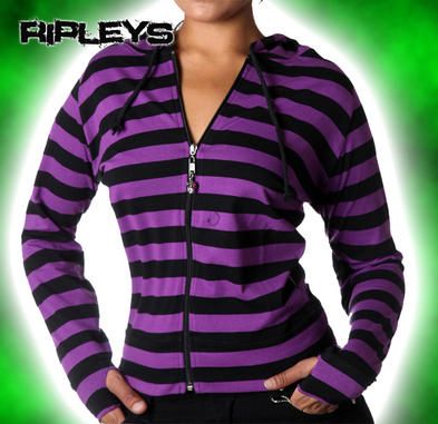 BANNED Clothing Stripe Hoody Top PURPLE BLACK Emo Goth All Sizes