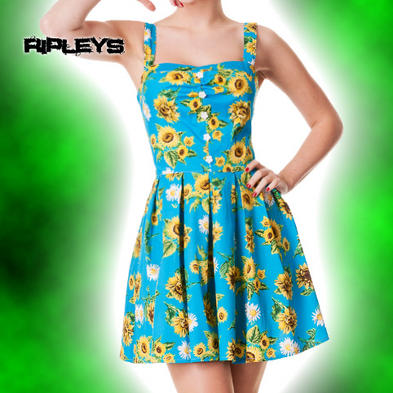 HELL BUNNY Sunflower MINI DRESS Summer SUNRISE Floral Blue All Sizes
