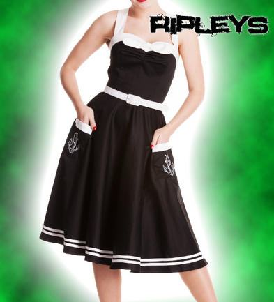 HELL BUNNY 50s DRESS Nautical Rockabiily SIREN BLACK Motley/Sailor All Sizes