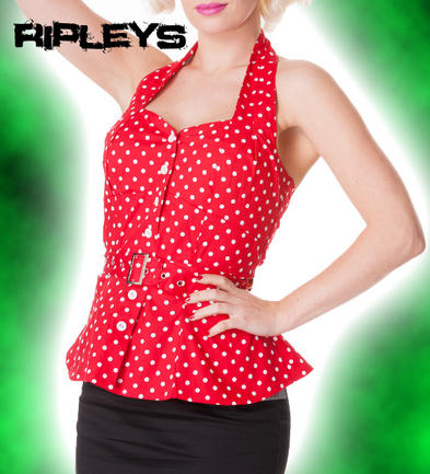 HELL BUNNY Shirt RETRO PEPLUM Top/Vest RED White Polka Dot 50s All Sizes