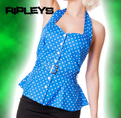 HELL BUNNY Shirt RETRO PEPLUM Top/Vest BLUE White Polka Dot 50s All Sizes