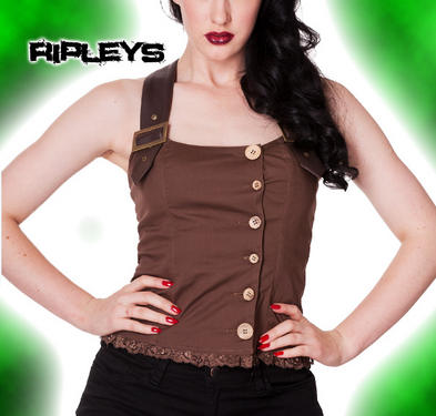 HELL BUNNY Spin Doctor Brown AURORA TOP Steam Punk Military Bondage All Sizes