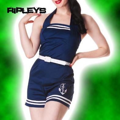 HELL BUNNY Nautical ANCHORED PLAYSUIT Motley NAVY BLUE Sailor