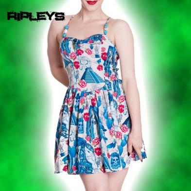 HELL BUNNY Blue Mexico AZTEC MINI DRESS Flowers Kitsch Vintage All Sizes