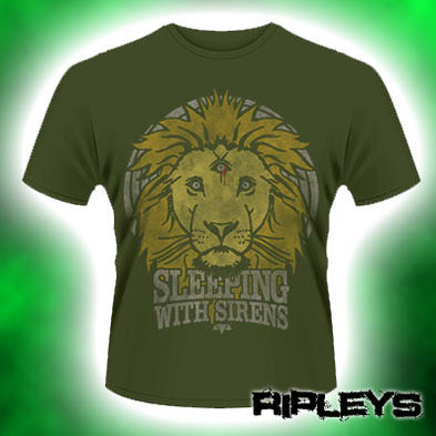 Official T Shirt Khaki SLEEPING WITH SIRENS Green LION CREST All Sizes