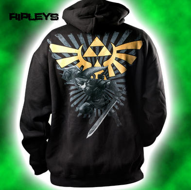 Official ZELDA Hoody Hoodie Black Zip Up GOLD LOGO Nintendo All Sizes