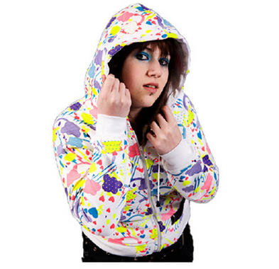 POIZEN EVIL Hoody/Hoodie CLOUD 9 White Cute Top Neon Rainbows S/M 8/10