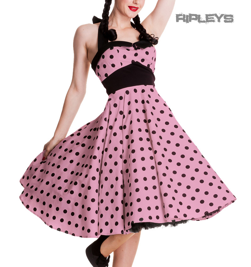 HELL BUNNY Rockabilly 50s Dress ADELAIDE Polka Dot Pin Up PINK ...