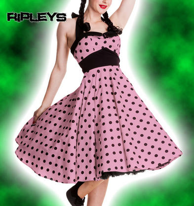 HELL BUNNY Rockabilly 50s Dress ADELAIDE Polka Dot Pin Up PINK Black All Sizes