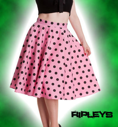 HELL BUNNY 50s Rockabilly ADELAIDE SKIRT Pin Up Polka Dot PINK Black All Sizes