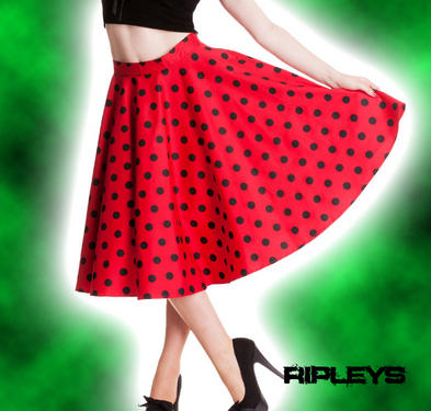 HELL BUNNY 50s Rockabilly ADELAIDE SKIRT Pin Up Polka Dot RED Black All Sizes