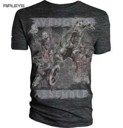 Official T Shirt THE AVENGERS Grey Distressed ASSEMBLE Vintage Marvel All Sizes