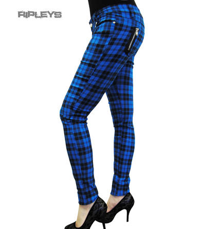 BANNED CLOTHING Punk/Goth SKINNY JEANS Tartan BLUE Zips All Sizes