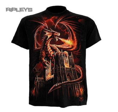 SPIRAL DIRECT Unisex T Shirt DRAGON FURY Goth/Flames/Fire All Sizes