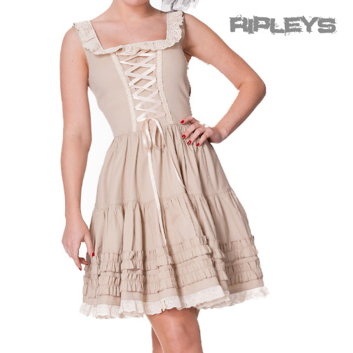 HELL-BUNNY-Goth-DRESS-Beige-Cream-GRACE-Steampunk-Victorian-Vintage-All-Sizes