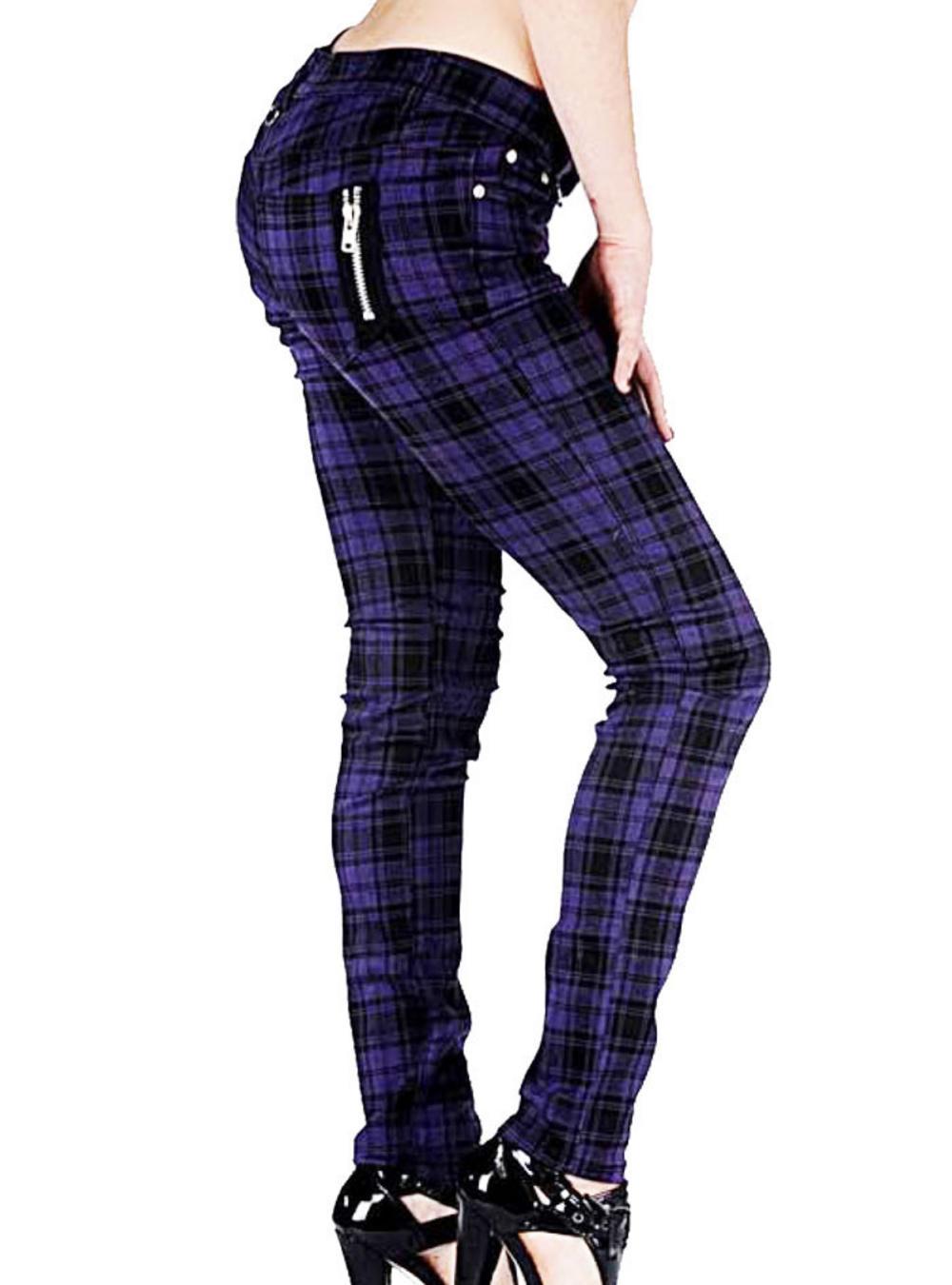 BANNED CLOTHING Punk/Goth SKINNY JEANS Tartan PURPLE Zips ...