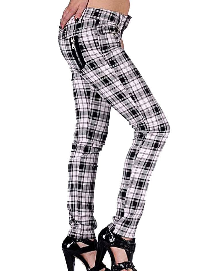 BANNED CLOTHING Punk Goth SKINNY JEANS Tartan WHITE Zips All Sizes 797ea1980