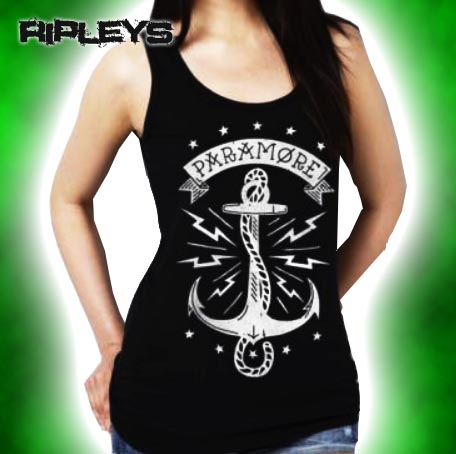 Official-Ladies-Skinny-T-Shirt-PARAMORE-Black-ANCHORS-Vest-Top-All-Sizes