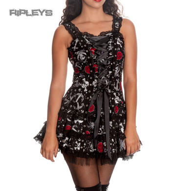 HELL BUNNY Club MINI DRESS Nautical BLACK PEARL Goth Rose Skulls All Sizes