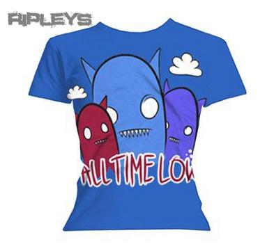 Official Skinny T Shirt ALL TIME LOW Blue GHOSTS All Sizes
