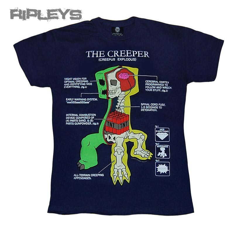Official-KIDS-T-Shirt-MINECRAFT-Navy-Blue-CREEPER-ANATOMY-KIDS-All-Sizes