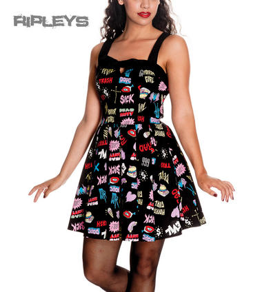 HELL BUNNY Black MINI DRESS Retro HORROR GAL Halloween All Sizes