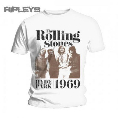 Official T Shirt THE ROLLING STONES White BAND PHOTO 1969 All Sizes