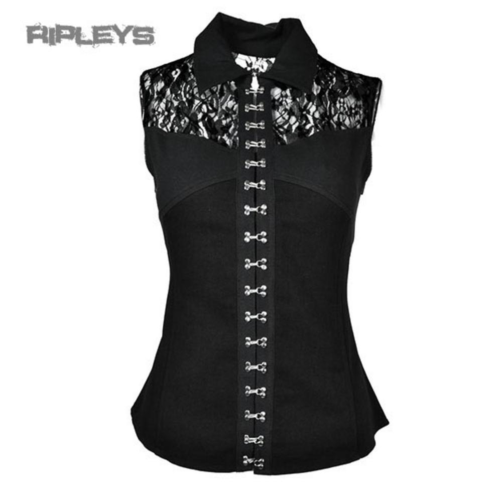 VIXXSIN Poizen Ladies Goth/Steampunk MARISA TOP Lace Vest/Shirt All Sizes