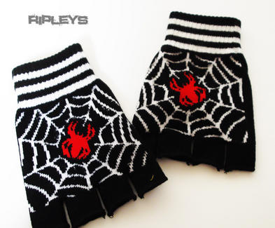 Clarabella Goth/Emo FINGERLESS GLOVES Winter Gift SPIDER Stripe Web
