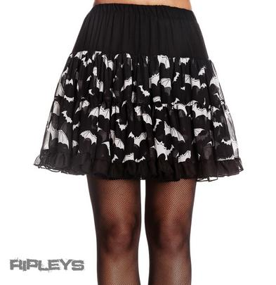 HELL BUNNY Halloween Goth BATS SKIRT Ruffle Black WHITE All Sizes