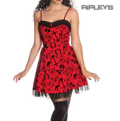 HELL BUNNY Black MINI DRESS Red Tattoo Flock LIV Swallows All Sizes