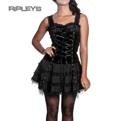 HELL BUNNY Club MINI DRESS Lace Up HARPER Goth Lolita Black All Sizes