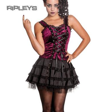 HELL BUNNY Club MINI DRESS Lace Up HARPER Goth Lolita Purple All Sizes
